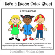 I Have a Dream Color Sheet