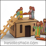 3D Bible Scene with House and People