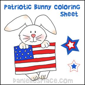 Patriotic Bunny Coloring Sheet
