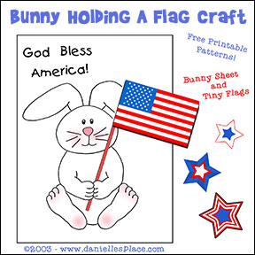 Patriotic Bunny Holding a Flag