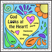 God Looks at the Heart Coloring and Activity Sheet