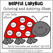 Helpful Ladybug Coloring and Activity Sheet