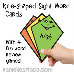 Kite-shaped Sight Word Printable Cards