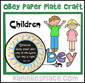 Obey Paper Plate Craft for Sunday School