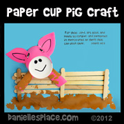 Paper Cup and Craft Stick Pig Craft