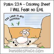 Psalm 23:4 Coloring Sheet I Will Fear No Evil