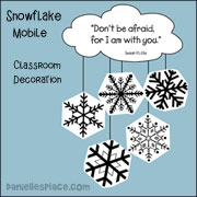 """Don't be Afraid, for I Am with You"" Snowflake Mobile"