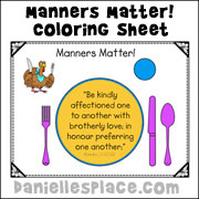 Manners Matter Color Sheet