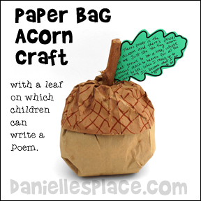 Paper Bag Acorn Craft Leaf