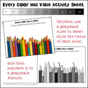 Every Color has Value Activity sheet