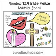 Romans 10:9 Bible Verse Sheet