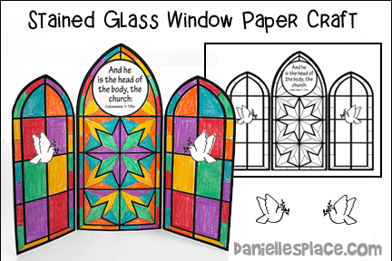 Stained Glass Window Triptych Bible Craft
